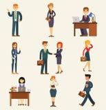 Affärsman för möte för person för arbete för företags för teamwork för uppsättning för vektor för affärsfolk lycklig för kontor a royaltyfri illustrationer