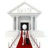 affärsman för man 3d och bankbyggnad Arkivbilder