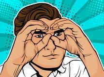 Affärsman för popkonst som ser till och med kikare som göras från händer stock illustrationer