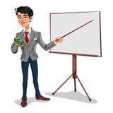 Affärsman för vektor 3d i en presentation Arkivfoto