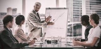 Affärsman framme av ett växande diagram under ett möte Arkivbilder