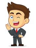 Affärsman Gesturing Ok och blinka royaltyfri illustrationer