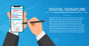Affärsman Hands som undertecknar det Digitala häftet på den moderna smartphonen Vholding en telefon för häfte Inom arkiv kan du f stock illustrationer