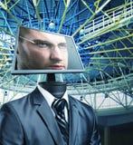 Affärsman i cyberspace royaltyfri bild