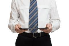 Affärsman i den vita skjortan med en minnestavla Arkivfoton