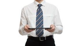 Affärsman i den vita skjortan med en minnestavla Arkivbild