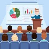 Affärsman i dräkt- och banddanandepresentation som ombord förklarar diagram för åhörare i konferenskorridoren, affärsseminarium, stock illustrationer