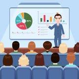 Affärsman i dräkt- och banddanandepresentation som ombord förklarar diagram för åhörare i konferenskorridoren, affärsseminarium, royaltyfri illustrationer