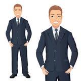 Affärsman i dräktanseendet, händer på höfter som ler vektor illustrationer