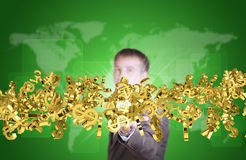 Affärsman i dräkthållflöde av guld- valuta Arkivfoto