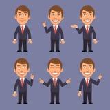 Affärsman i dräktpunkter i olika versioner royaltyfri illustrationer