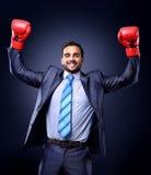 Affärsman i en dräkt och boxninghandskar royaltyfria bilder