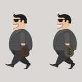 Affärsman i exponeringsglas Hänga lös av pengar Uppsättning Stock Illustrationer
