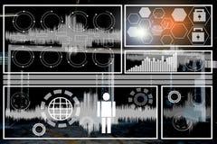 Affärsman i radar för data för teknologirumlabb royaltyfria bilder
