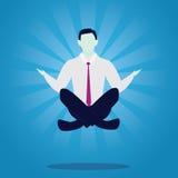 Affärsman i yogaposition Stillhet kopplar av i affär royaltyfri illustrationer