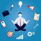 Affärsman i yogaposition Stillhet kopplar av i affär stock illustrationer