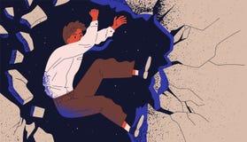 Affärsman, manlig kontorsarbetare eller anställd som upp klättrar klippan och faller av Begrepp av det yrkesmässiga fiaskot, karr stock illustrationer