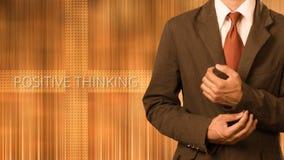 Affärsman med begrepp av positivt tänka arkivfoto