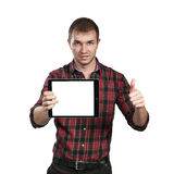 Affärsman med blocket Fotografering för Bildbyråer