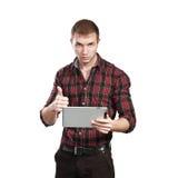 Affärsman med blocket Arkivbild