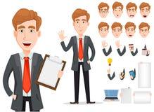 Affärsman med blont hår, uppsättning för skapelse för tecknad filmtecken vektor illustrationer