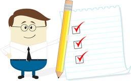 Affärsman med blyertspenna- och kontrolllistan Royaltyfri Foto