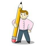 Affärsman med blyertspennan tecknad filmcommandertryckspruta hans illustrationsoldatstopwatch Arkivbild