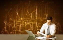 Affärsman med byggnader och nummer Royaltyfri Bild