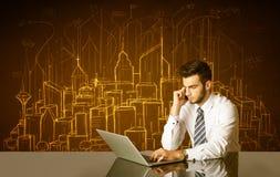 Affärsman med byggnader och nummer Arkivbilder