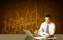 Affärsman med byggnader och nummer Arkivfoton