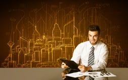 Affärsman med byggnader och nummer Arkivfoto