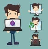 Affärsman med datoren stock illustrationer