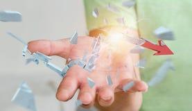 Affärsman med den brutna tolkningen för krispil 3D Royaltyfria Bilder