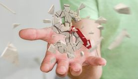 Affärsman med den exploderande tolkningen för dollarvaluta 3D Arkivbilder