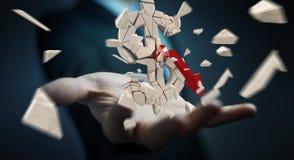Affärsman med den exploderande tolkningen för dollarvaluta 3D Royaltyfri Foto