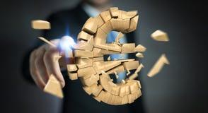Affärsman med den exploderande tolkningen för eurovaluta 3D Arkivbilder