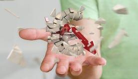 Affärsman med den exploderande tolkningen för eurovaluta 3D Royaltyfri Foto