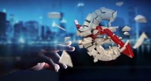 Affärsman med den exploderande tolkningen för eurovaluta 3D Royaltyfria Bilder