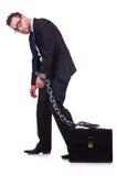 Affärsman med den isolerade kedjan Royaltyfri Fotografi