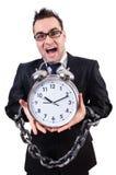Affärsman med den isolerade klockan Royaltyfria Foton