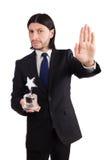Affärsman med den isolerade stjärnautmärkelsen Royaltyfri Bild