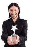 Affärsman med den isolerade stjärnautmärkelsen Royaltyfri Foto