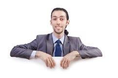 Affärsman med det blanka meddelandet Fotografering för Bildbyråer