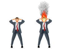 Affärsman med det brinnande huvudet vektor illustrationer
