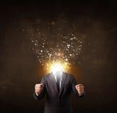 Affärsman med det glödande exploderande huvudet arkivbild