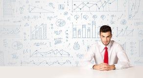 Affärsman med diagrambakgrund Fotografering för Bildbyråer