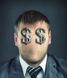 Affärsman med dollarsymboler Arkivbilder
