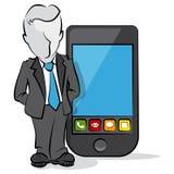 Affärsman med en mobil Fotografering för Bildbyråer