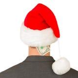Affärsman med en santa hatt, santas krisbudget Royaltyfria Bilder