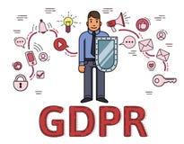 Affärsman med en sköld bland internet- och samkvämmassmediasymboler Reglering för skydd för allmänna data GDPR RGPD, DSGVO royaltyfri illustrationer